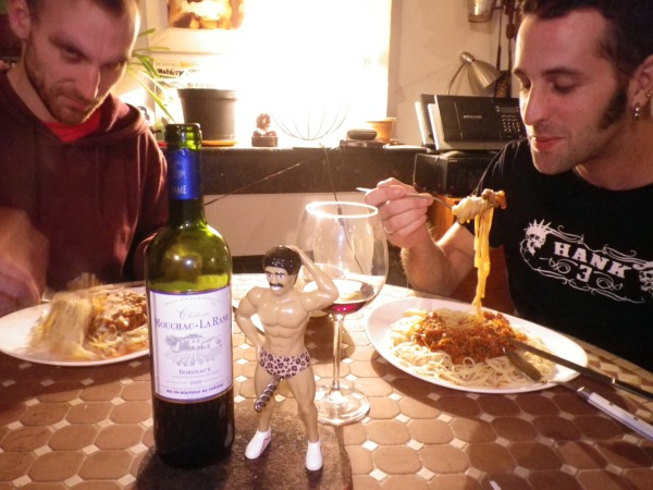 evil gentlemen enjoying bolognese