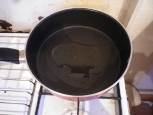 olive oil in pan