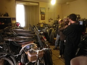 looking at piles of bikes 2