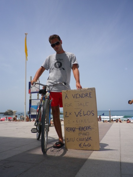 selling bikes on biaritz beach